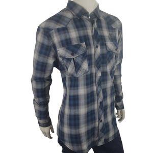 Harley-Davidson Blue Gray Plaid Shirt Size XL